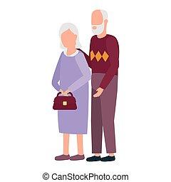 parents, mignon, caractères, avatars, grandiose