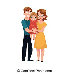 Parents, mom and dad, holding little daughter, loving family...