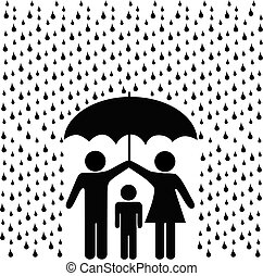 Parents protect child with umbrella in rain - A couple of...