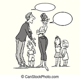 Parents quarrel and child listen. Family conflict. Parents and three children.