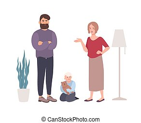 Parents quarreling or fighting in presence of little son. Married couple shouting at each other. Problem or conflict in family. Unhappy marriage and divorce. Flat cartoon vector illustration.
