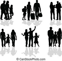 parents, silhouette, enfants