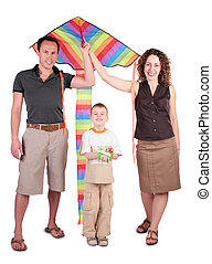 parents, son and color kite