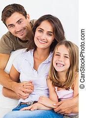 parents, sourire, leur, fille