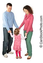 parents, stand, avoir, mains jointes, à, fille