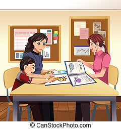 Parents teacher meeting - A vector illustration of parents...
