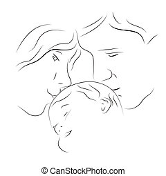 Parents with a baby - Hand drawn silhouette of parents and a...