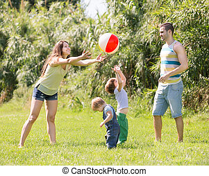 parents with children at sunny day