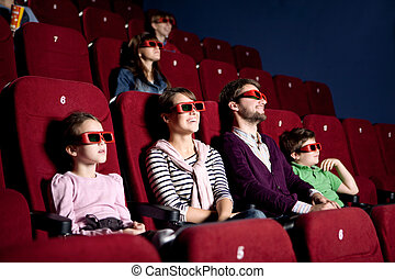Parents with children at the cinema
