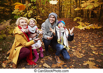 Parents with children having a fun