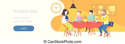 parents with children sitting cafe table enjoying food family having dinner and talking together restaurant interior full length flat horizontal banner copy space
