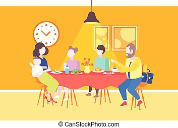 parents with children sitting cafe table enjoying food family having dinner and talking together restaurant interior full length flat horizontal