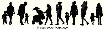 Parents with childrens silhouettes