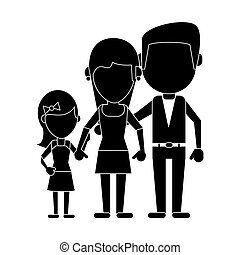 parents with daughter family pictogram