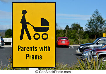 Parents with prams sign symbol - Detail of a signpost ...