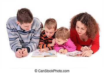 parents with son and daughter look books