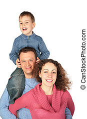 parents with son on father`s shoulders