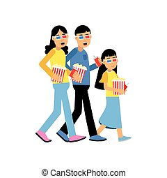 Parents with their daughter wearing 3d glasses with popcorn going to the cinema, happy family concept vector Illustration