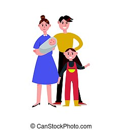 Parents with their two children cartoon characters, happy family vector Illustration