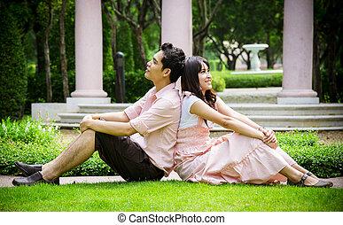 pares, amante, garden1, sentar