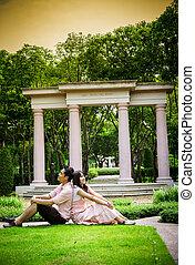 pares, amante, garden2, sentar