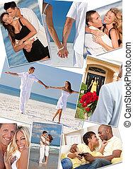 pares, amor, romanticos, montagem, romance, interracial
