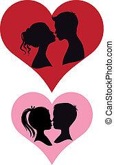 pares, beijando, vetorial