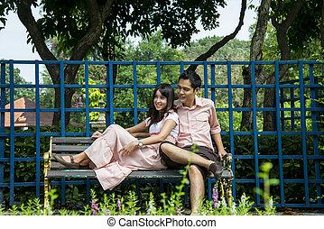 pares, cadeira, amante, garden1, sentar