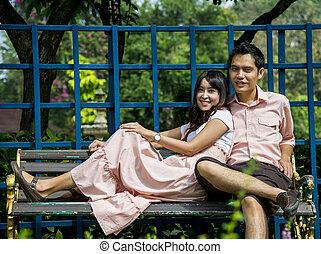 pares, cadeira, amante, garden2, sentar