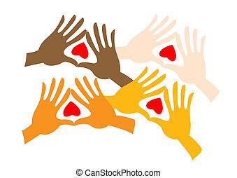 pares, coloreado, manos