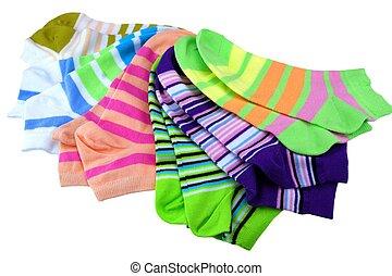 pares, coloridos, muitos, isolado, meias, pilha, branca, ...