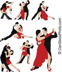 pares, dançar, um, tango