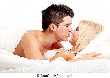 pares heterosexuales, amoroso, bed., cariñoso