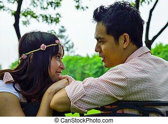 pares, jardim, sentar, scene2, romance, amante