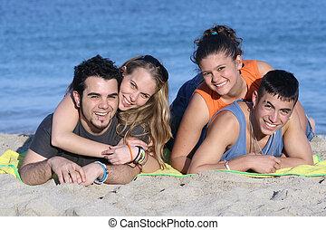 pares, jovem, férias