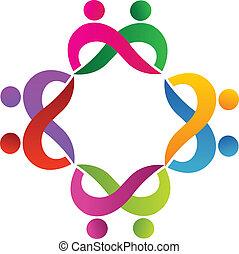pares, logotipo, trabalho equipe, pessoas