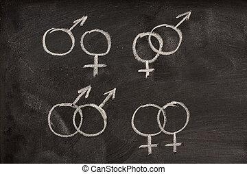 pares, símbolos gênero, femininas, quadro-negro, macho