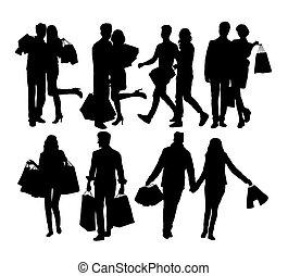 pares, silhuetas, shopping mulher, homem