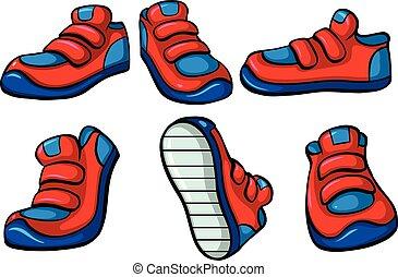 pares, sneakers, três, vermelho