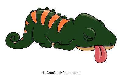 paresseux, caméléon