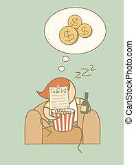 paresseux, concept, caractère, dessin animé, riche, rêve,...