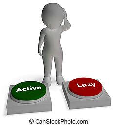 paresseux, style de vie, délassant, boutons, actif, ou, proactive, spectacles