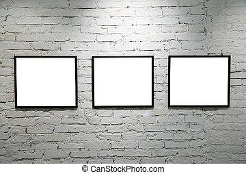 parete, 2, nero, cornici, mattone bianco