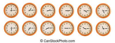 parete, #3/4, set, clocks