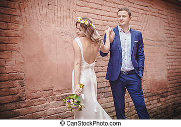 parete, abbracciare, matrimonio