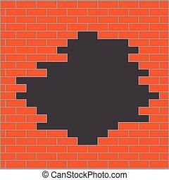 parete, arancia, buco, mattone