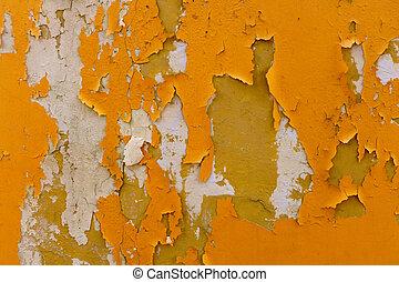 parete, arancia, sbucciatura vernice