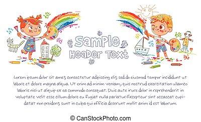 parete, arcobaleno, bambini, disegnare