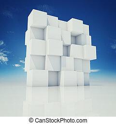 parete, astratto, cubi