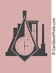parete, astratto, industriale, orologio